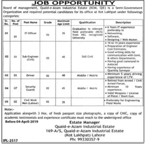 Board of Management, Quaid e Azam Industrial Estate (BOM, QIE) Semi Govt Organization Jobs 2019 for IT Officer, Sub Engineer and more
