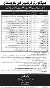 Head Quarter Frontier Cover Baluchistan for Technical & None technical Staff, Medical Assistant, Computer Operator and more