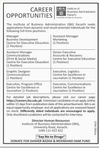 Institute of Business Administration (IBA) Director Human Resources Karachi Jobs 2019 for Assistant Manager Marketing, Senior Executive Accounts & Recovery Center for Executive Education