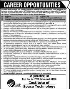Institute of Space Technology (IST) Jobs 2019 Latest