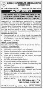 Jinnah Post Graduate Medical Center Course Karachi 2019 for Three years BSc Occupational Therapy