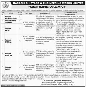Karachi Shipyard & Engineering Works Ltd (Human Resources) Jobs 2019 for Manager Pre-Fabrication and more