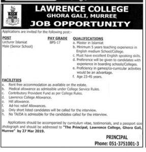 Lawrence College Ghora Bali Murree Jobs 2019 for Lecturer Islamiat