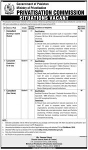 Ministry of Privatization Commission Govt of Pakistan Jobs 2019 for Consultant