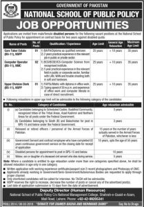 National School of Public Policy Govt of Pakistan Jobs 2019 for Care Taker Estate, Computer Operator, Upper Division Clerk