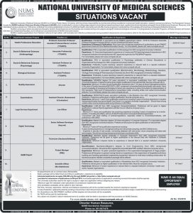 National University of Medical Science (NUMS) Rawalpindi Jobs 2019 for Health Professions Education, Biological Sciences and more