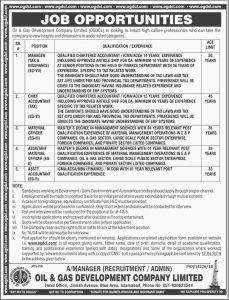Oil & Gas Development Company Limited ( OGDCl ) Jobs 2019 for Manager Tax & Insurance (EG-VII) Chief Accountant