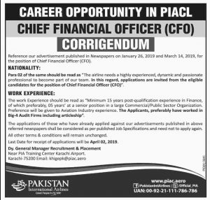 PIA Pakistan International Airline Jobs 2019 for Chief Financial Officer (CFO) Latest