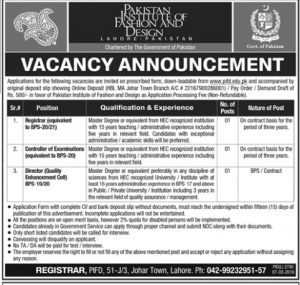 Pakistan Institute of Fashion Design  Created by Govt of Pakistan Jobs 2019 for Registrar, Controller of Examination, Director