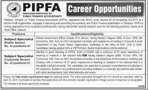 Pakistan Institute of Public Finance Accountants (PIPFA) Jobs 2019 for Subject Specialist