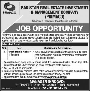 Pakistan Real Estate Investment & Management Company (PRIMACO) jobs 2019 for Chief Internal Auditor