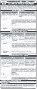 Prime Minister's office (Public) Vacancy Announcement 2019 for Senior Associate MP-II, Reasearch Associate MP-III