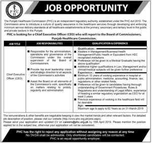 Punjab Healthcare Commission (PHC) Jobs 2019 for Chief Executive Officer (CEO)