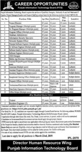 Punjab Information Technology Board (PITB) Jobs 2019 for Project Director, Program manager, Database Administrator and more