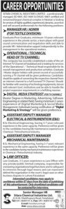 Sitara Chemical Industries Limited Jobs for Manager HR, Admin, Operational, Digital Media Strategist