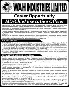 Wah Industries Limited Jobs 2019 for MD-Chief Executive Officer Latest Jobs