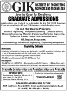 Admissions GIK Institute of Engineering Sciences and Technology 2019 for MS and PhD with Scholarship