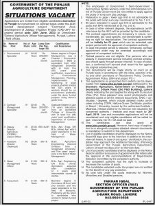 Agriculture Department Jobs 2019   Govt of the Punjab for Procurement Specialist, Contract Management Specialist, Deputy Director, Water Management officer and more
