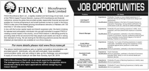 FINCA Micro finance Bank Ltd Jobs 2019 for Unit Head IT, Branch Manager, Credit Officer, and more