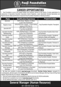 Fauji Foundation Jobs 2019 for Intensivist, Registrar, Specialist Classified Ophthalmology and more