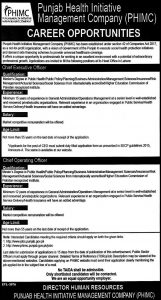 HR Punjab Health Initiative management Company (PHIMC) Jobs 2019 for Chief Executive Officer
