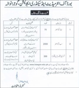 BISE Gujranwala Jobs 2019 | Papers Checking From BISE Gujranwala | 2275+ Vacancies | Board of Intermediate and Secondary Education