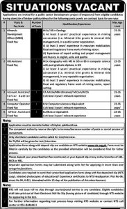 NTS Jobs 2019 Public Sector Development Project jobs for NDO, GIS Assistant Fixed Pay, Account Assistant, Computer Operator