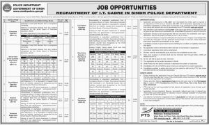 Police Department Sindh Jobs 2019 | Govt of Sindh Latest Jobs 2019 | for Computer Operator, Senior Data Entry Operator,  Technician