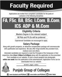 Punjab Group of Colleges Jobs 2019 (PGC) For Lecturer (All Campuses) Latest