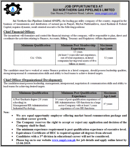 SNGPL Jobs 2019 Sui Northern Gas Pipe Line Jobs 2019 for Chief Financial Officer, Chief Officer (Organization Development