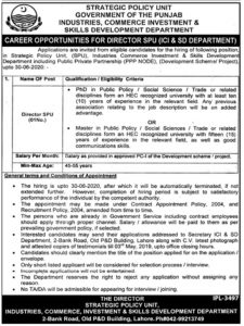 Skills Development Department jobs 2019   Govt of the Punjab Industries Commerce Investment for Director SPU