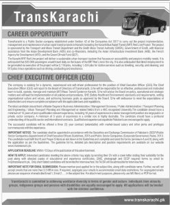 Trans Karachi Jobs 2019 for Chief Executive Officer (CEO) Latest