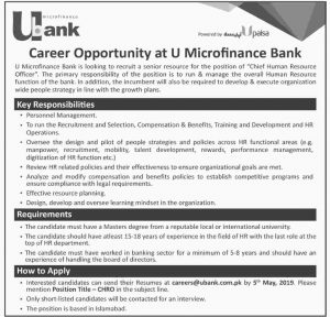 U Bank Jobs 2019 | Micro Finance Bank Jobs 2019 | for Chief Human Resources Officer