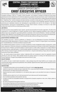 Central Power Purchasing Agency Guarantee Limited Jobs Govt of Pakistan Jobs 2019 for CEO