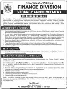 Finance Division Govt. of Pakistan Jobs for Chief Executive Officer