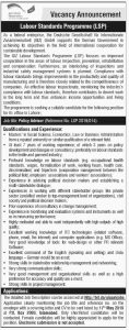 Labour Standards Programme (LSP) Jobs 2019 for Policy Advisor