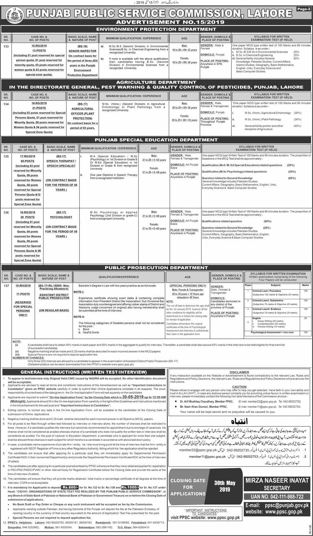 PPSC Jobs 2019 at Police Department, Specialized Health and