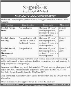 Sindh bank Jobs 2019 Latest for head of Freign Trade, Head of Islamic Banking, Head of Special Asset Management (SAM)
