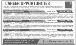 Oil Gas Sector Head Office Karachi Jobs 2019 for Executive Secertary to MD Head of HR and Training