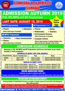 For Phd MS MPhil and BS Programmes