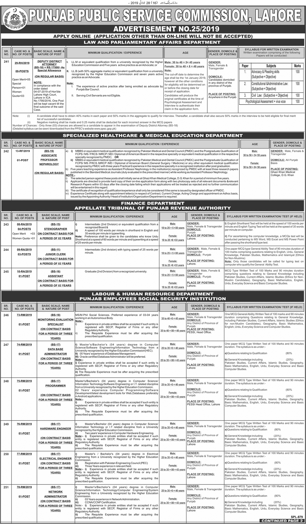 PPSC Jobs Today 2019 Advertisement No 25/2019 at Law