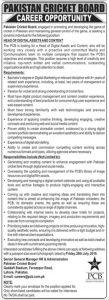 Pakistan Cricket Board Jobs 2019 for Head of Digital Asset and Content