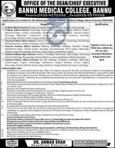 College Of Nursing Bannu Jobs 2019