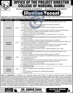 College Of Nursing Bannu Jobs 2019 Latest