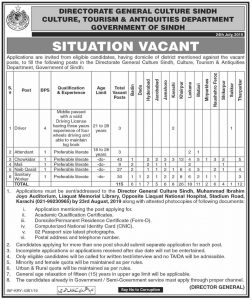 Directorate General Culture Sindh Jobs 2019