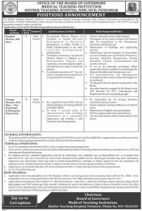 Khyber Teaching Hospital Peshawar Jobs August 2019