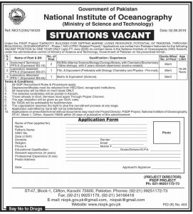Ministry of Science and Technology Jobs 2019 at National Institute of Oceanography