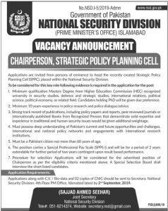 PMO, Prime Minister Office Jobs 2019, Chairperson, Strategic Policy Planning Cell