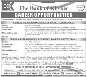 The Bank of Khyber Jobs August 2019 Head Corporate Banking