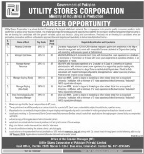 USC-Utility Stores Corporation Jobs 2019 in Islamabad